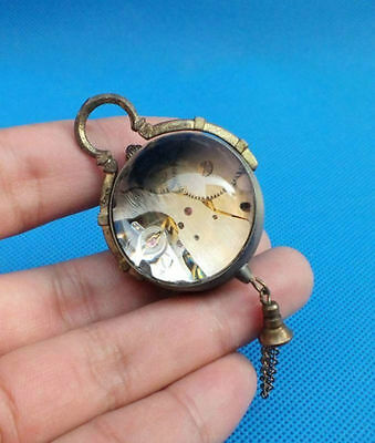 CHINESE vintage BRASS GLASS pocket watch BALL clock/,