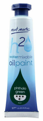 Mont Marte H2O Water Mixable Oil Paint 37ml - Phthalo Green