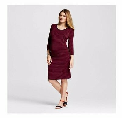 Liz Lange Maternity for Target berry and navy striped dress size L