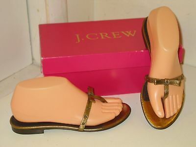 c8943af29199 J. Crew Anguila Gold Metallic Leather Sandals Slides Flip Flops Thongs Shoes  6