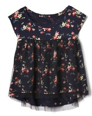 Gap Baby Girl Toddler Tulle Top T Shirt Tee Floral Navy Blue Size 3T 3 Years NWT