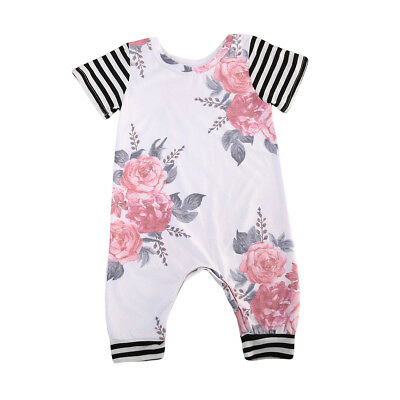 US Stock Toddler Infant Baby Girl Floral Romper Bodysuit Jumpsuit Clothes Outfit