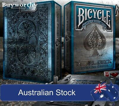 Metal Deck Playing Cards 2nd Edition Blue Bicycle Magic Poker New Made in USA