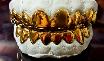 10K Solid Yellow Gold Custom fit Plain Design REAL Gold Grill Grillz Gold Teeth