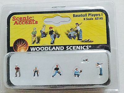 Woodland Scenics Accents 1/160 N Scale Baseball Players 1 # A2145 Factory Sealed