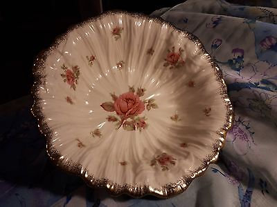 Vintage Three-footed Crown Ducal Bowl Pink Roses