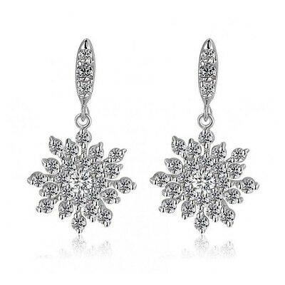 Magnificent Snowflake Drop Earrings Bridal Jewelry CZ Cubic Zirconia - CRYSTALA