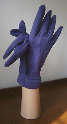 VINTAGE 1960s KIR PURPLE WRIST LENGTH STRETCH NYLON GLOVES PLEAT DETAIL WEDDING