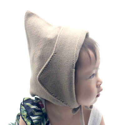 Steeple Witches Knitted Baby Hat for Girls Boys Lace-Up Solid Color Baby Bonnet