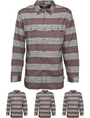 SPORTIVO Converse Mens Miner Striped Utility Long Sleeve Shirt Vintage Grey Hea