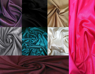 Faux Silk Plain Material Fabric By The Meter For Clothes Scarves Lining Curtains