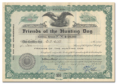 Friends of the Hunting Dog Stock Certificate (New Jersey)