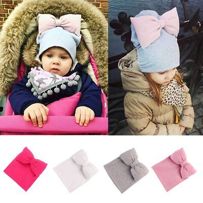 Cute Baby Kids Girls Toddler Winter Warm Knitted Bowknot Beanie Hat Beret Cap