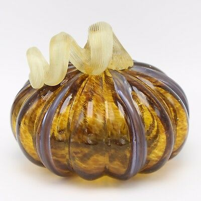 "New 5"" Hand Blown Art Glass Amber Black Pumpkin Sculpture Harvest Fall Figurine"