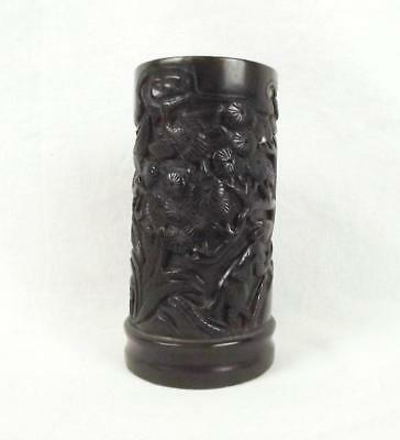 Chinese Ming Dynasty Carved Nephrite Jade Brush Pot