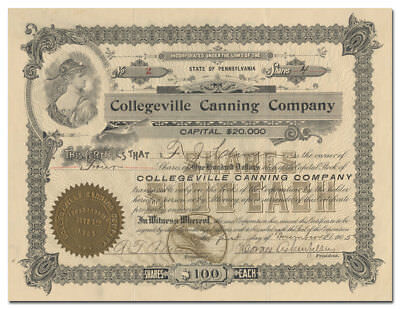 Collegeville Canning Company Stock Certificate (Pennsylvania)