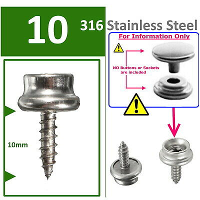Snap Fasteners - 316 Stainless Steel - 10mm - Press Stud Screw Base - 10 Count