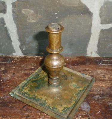 EARLY ANTIQUE 17th CENTURY BRASS CANDLESTICK LIGHTING CANDLE HOLDER NR!