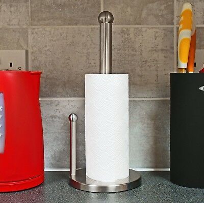 Stainless Steel Dual Pole Kitchen Tissue Roll Holder Paper Towel Stand