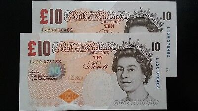 GREAT BRITAIN £10 Pound Cleland Matching serials x 2 UNC Banknotes