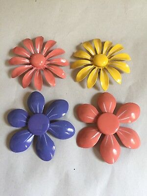 Brooch Mid Century Colorful Vtg. Big Enamel Metal Daisy Lot of 4 Pin Set Jewelry