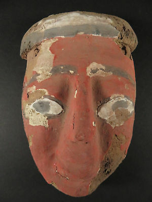 Ancient Egyptian Polychrome Painted Death Mask
