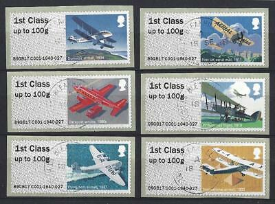 Great Britain 2017 Mail By Air. Post And Go Set Of 6 Fine Used