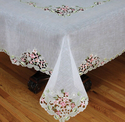 Fairy Garden Sheer Embroidered Cutwork Spring Tablecloth XIAH1911
