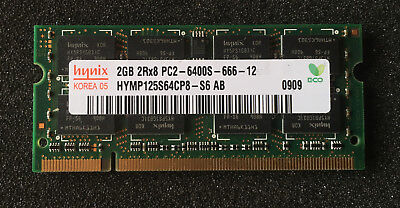 Hynix 2GB 2Rx8 PC2-6400 DDR2 SODIMM Laptop Memory HYMP125S64CP8-S6