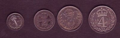 1895 Victoria Veiled Head Maundy Set, Attractively Toned. Uncirculated.
