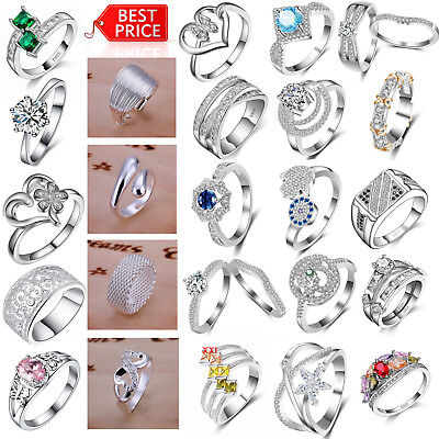 Fashion 925 Sterling Silver Jewelry Filled Wedding Engagement Wedding Ring Women