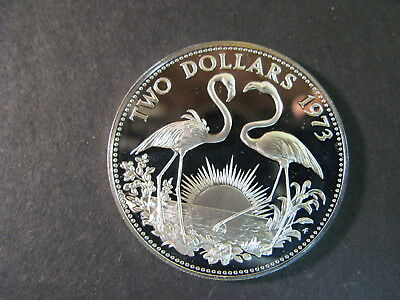 Bahamas, Silver $2 Dollars Coin Dated 1973, Proof, Beautiful