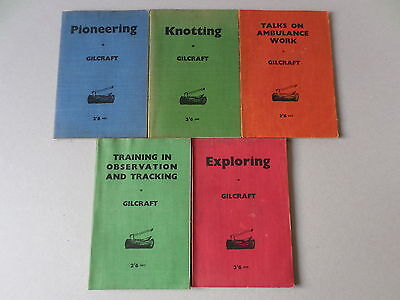 Lot of 5 x Gilcraft Boy scout books inc exploring knotiing pioneering