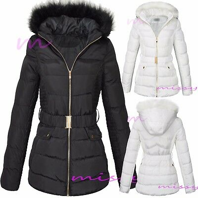 New Womens Ladies Quilted Winter Coat Puffer Fur Collar Hooded Jacket Parka Mand