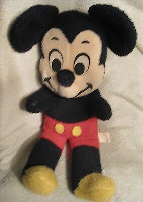 """Vintage 1960's Mickey Mouse Plush Stuffed Toy Walt Disney Tag 21"""" Inches"""