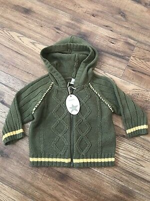 Adams Baby Boys khaki Green Cable Knit Cardigan - Brand new with tags