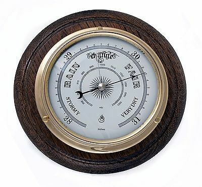Traditional Brass Barometer And Oak Mount. Quality Product