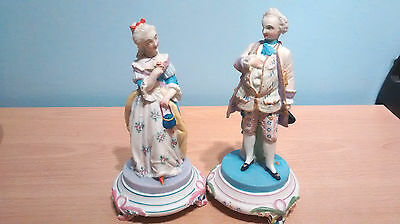 """Vintage Pair of Parian/Bisque Hand Painted Figures in Period Costume.Stamped""""AC"""""""