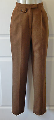 Wool Pants Slacks Brown Pleated Trousers 4 USA Made Vtg Ralph Lauren