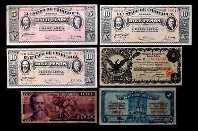 MEXICO BANKNOTES LOT OF 6 NOTES CIRC 1, 5, 10, 100peso SEE SCANS FOR CONDITION