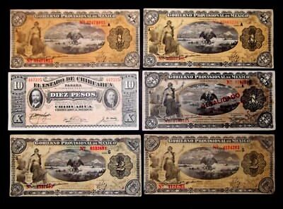 MEXICO BANKNOTES LOT OF 6 NOTES CIRC 1, 2, 10 pesos SEE SCANS FOR CONDITION