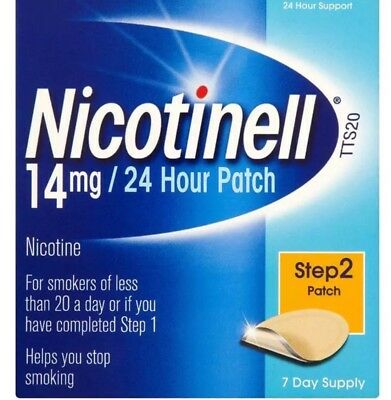 Nicotinell 14mg 24 Hour Patch - Step 2 Patch - 7 Day Supply. FREE P+P.