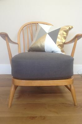 New Cushion & Cover For An Ercol Armchair In Linen Mix - Charcoal
