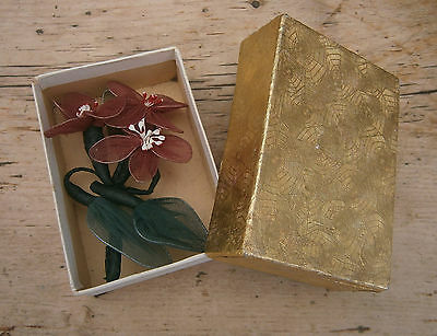 VINTAGE 1950s WIRED FLORAL CORSAGE MILLINERY FLOWERS IN BOX GOODWOOD WEDDING 40s