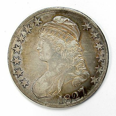 1827 Silver 50c Capped Bust Half $ Dollar VF+ Light Cleaning O-119 R-4 #93138 R
