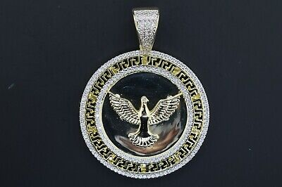 14K Yellow Gold Plated Brass Micro Pave Eagle Medallion Pendant With Chain