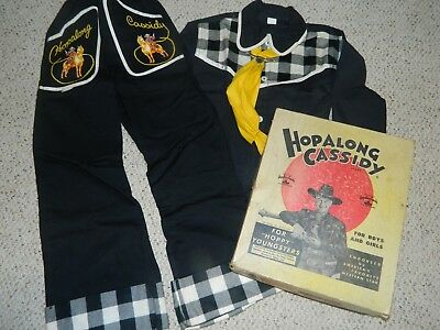 Vintage 1950's Hopalong Cassidy Child's Dress Up Western Cowboy Outfit W/ Box