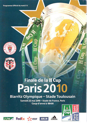 Biarritz v Toulouse Heineken Cup Final 22 May 2010 Paris RUGBY PROGRAMME