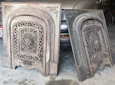 *two* Antique Ornate Cast Iron Victorian Fireplace Surround Insert Summer Cover