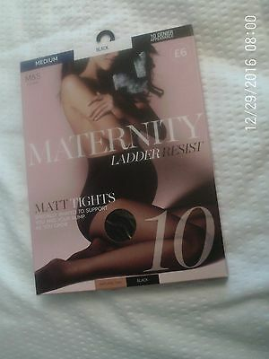 Black Maternity Tights By Marks And Spencer, Size Medium